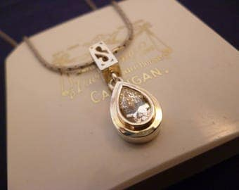 "A lovely sparkly DQCZ tear drop pendant necklace - 925 - sterling silver - 20"" necklace - d"