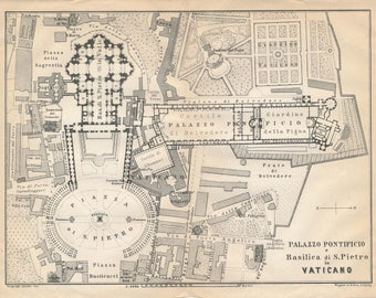 1909 Vatican Italy Antique Map