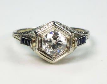 Vintage Diamond Ring 20k Gold Antique Diamond Filigree Ring Old European Cut Diamond Engagement Ring with Sapphires Circa 1930 .51 Carat