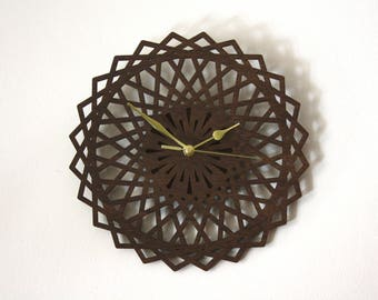 Wall clock in wood, geometric flower, brown color, natural home decor, wooden clock, modern decorative clock, unique gift for nature lovers