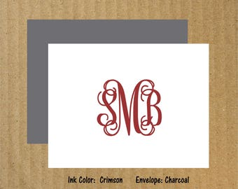 Monogram Note Cards, Set of 10, Interlocking Note Cards, Vine Monogram Note Cards, Interlocking Monogram, Thank You Cards, Monogram Cards