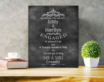 Personalized Engagement gift for a couple Engagement Present Chalkboard Engagement Gift -  [Typo 01] Unframed Print