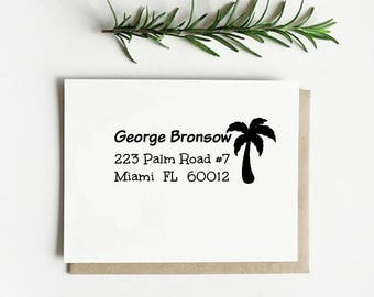 Palm Return Address Custom Stamp,Customizable Shipping Stamp,Personalized Rubber Address Stamp  -2331020817-