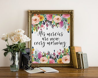 bible verse print, christian wall art His mercies are new every morning god quote printable biblical quote scripture art farmehouse wall art
