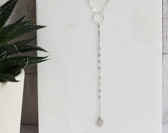 Sterling Silver long drop chain 'Y' necklace tiny leaf charm.