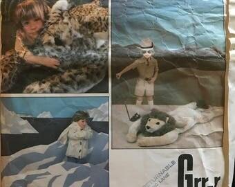 Vogue 1941 - Large Stuffed Animal Rugs for Lion, Cheetah, and Polar Bear - Five Feet Long