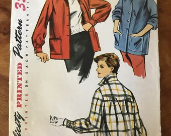 Simplicity 4945 - 1950s Boxy, Button Front Jacket with Pointed Collar and Patch Pockets - Size 16 Bust 34