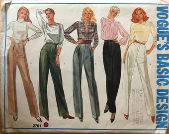 Vogue 2761 - Basic Design Straight Legged Pants with Dart, Tuck, Side Seam Pocket, Waistband, Welt Pocket, and Fly Front Options - Size 12