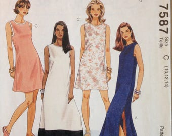 McCalls 7587 Easy Summer Dress with High Round Neck and Square Shaped Armhole - Size 10 12 14
