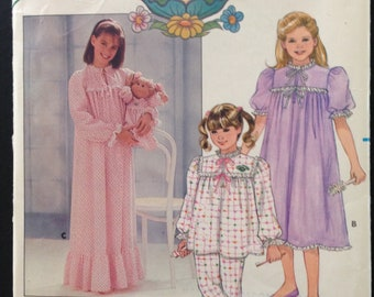 Butterick 3436 - 1980s Girl's Pajama Set and Nightgown with Matching Cabbage Patch Kids Nightgown - Size 7 810