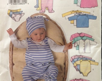 Butterick 5896 - Infant's Fast and Easy Layette with Onesie, Top, Dress, Diaper, Shirt, and Hat - Size PR NB  S