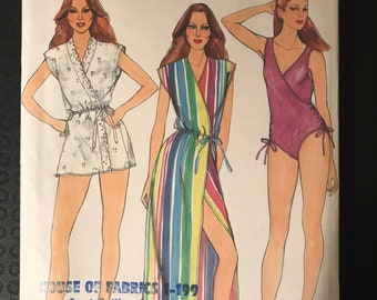 Butterick 3902 - 1980s Surplice Bodice Swimsuit and Coverup in Mini or Maxi Length - Size 12 Bust 34