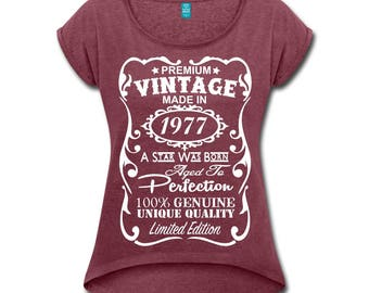 """40th Birthday Gift for Woman - **VELVETY PRINT** *Heather Colors* Memorable """"Made in 1977"""" design Shirt - Birthday Gift for Her"""