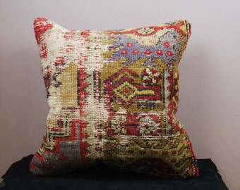 faded Vintage kilim pillow,  E2