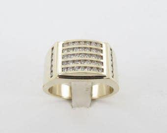 14k Yellow Gold Men's Diamond Ring, 14k Gold Men's Ring, Diamond Men's Ring