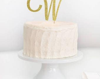 Single Letter Cake Topper, Initial Cake Topper, Monogram Wedding Cake Topper, Engagement Monogram Cake Topper