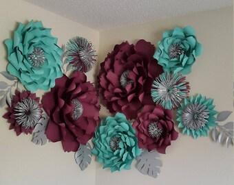 Wedding paper flower backdrop, Paper flower wall, Wedding backdrop, Bridal shower backdrop, Giant paper flowers