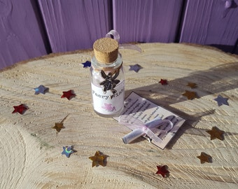 Faery Glitter Dust, Miniature Scroll, Fae Altar Offering, Message in a Bottle, Fairy Jar Charm, Good Luck Amulet, Mini Magical Poem