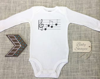 Music Notes Treble Clef Cute Baby Musician Band One Piece Bodysuit Toddler Kids Children's T-shirt