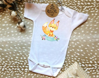 Personalized, Custom Fox, Cute Baby Clothes, Trendy Baby, Trendy Baby Gifts, Boho Baby Clothes, Hipster Baby Clothes, Unique Baby Clothes