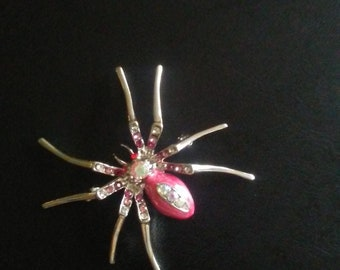 One pink, rhinestone, spider pin, brooch, lapel, free shipping