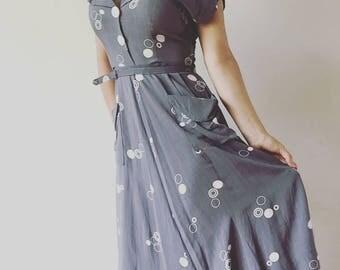 VTG 40s summer dress/ linen/ Small-medium
