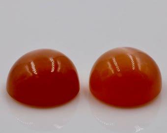 Orange Moonstone pair Cabochon RD 10mm