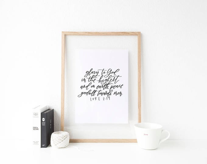 Featured listing image: Glory to God || Hand Lettered Print