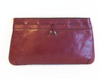 Vintage Signed Etienne Aigner Leather Oxblood Red Clutch Purse - Vintage Clutch Purses, Signed Purses, Red Colored Purses