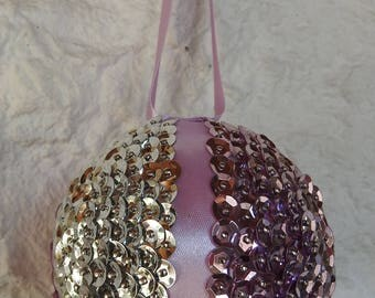 Handmade Pink And Silver Sequined and Crean Satin Ribbon Christmas Bauble - Free Shipping