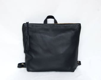 Leather backpack, leather laptop backpack, leather backpack women, Minimalist backpack, black leather bag, back to school leather bag