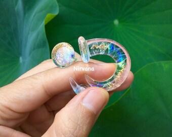 "1 Pair (2 Pieces) Translucent Rainbow Dichro Encased Twist Claw Gauges  4g 2g 0g 00g 7/16"" 1/2"" 9/16"" 5/8"" 2.5 mm 3 mm 4 mm 5 mm - 16 mm"