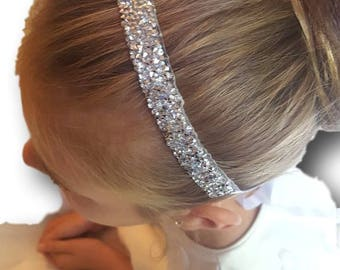 Flower Girl Bridesmaid First Communion Hair Accessory with Crystal Finish