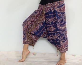 Touch Soft Silk..Blue Purple Soft Silk Harem Pants with Leaf patterned (HR-591)