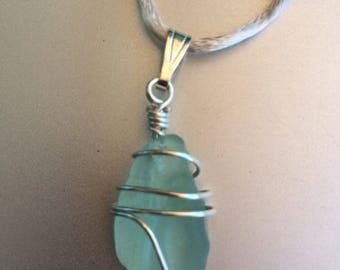 Aqua colored sea glass pendant