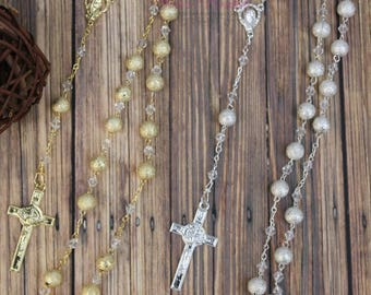 FAST SHIPPING!!! Handcrafted Beautiful Rosary, Wedding Rosary, Communion Rosary, Christening Rosary, Confirmation Rosary, Rosary Gift