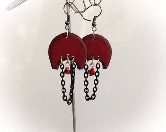 Earrings, ethnic, rustic, polymer clay, Burgundy, black, hoops.