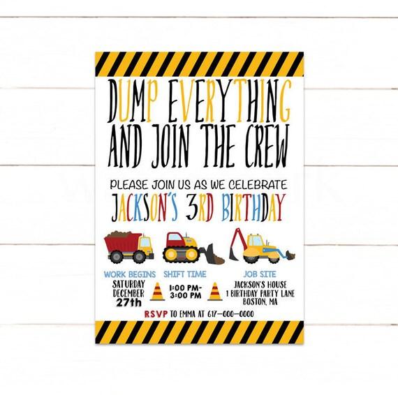 Construction Invitation Birthday Boy