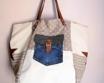 leather tote bag off-white/beige/taupe/camel pochejean, stars