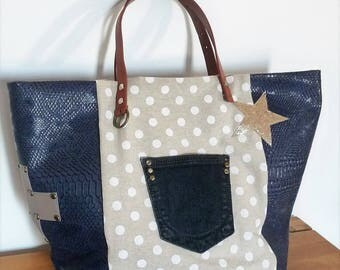 tote bag linen beige dots/leather Croc Navy/Cross leather taupe/gold stars/jean Pocket effect / camel handles