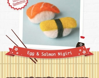 Egg & Salmon nigiri sushi - DIY wool felting kit