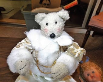 Vintage Rosy Cheeks Teddy Bear Wearing A Gold And White Christmas Suit