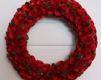 Red Christmas Wreath with paper flowers