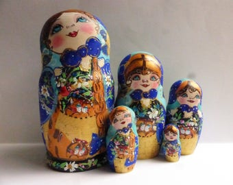 Russian dolls, Matryoshka, Nesting dolls, Babushka dolls, Cat, wooden dolls, exclusive gift, hand painted dolls