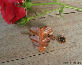 Copper heart brooch Copper heart pin Heart copper pin Copper shawl pin Rustic copper jewelry heart sweater pin Copper scarf pin