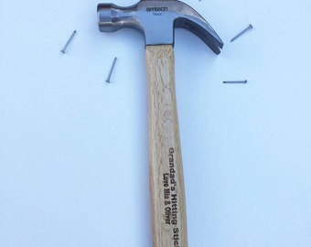 16oz Claw Hammer, Tools, Wooden, Personalised, Gifts for him