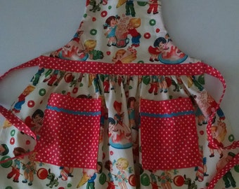 Girls Apron with Pockets Retro Candy Shop Apron Girls In the Kitchen Girls Apron, Toddler Apron