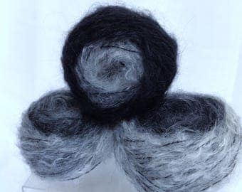 Luxurious Mohair Gray Blend Yarn Cakes, Fine Grey White Black Yarn Blend for Knitting Handmade Accessories, Fiber Art Yarn or Weaving Yarn