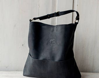 Black genuine leather hobo bag with regulated handle - leather shoulder bag - birthday present - spring bag - birthday gift women