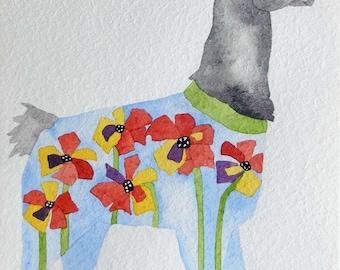 Whimsical art, original art, watercolor painting, llama art, nursery art, whimsical animal art, kids room art, llama, one of a kind art